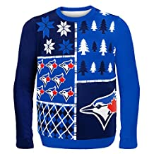 Forever Collectibles MLB Toronto Blue Jays Mens Busy Block Sweater, Medium