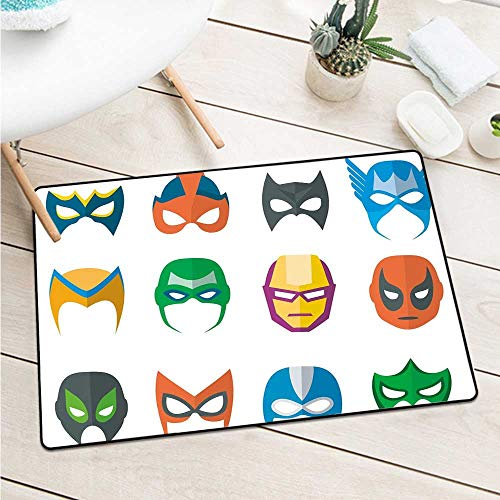Superhero Welcome Door Mat Hero Mask Female Male Costume Power Justice People Fashion Icons Kids Display Catch Dust Snow and Mud (W15.7 X L23.6 inch,Multicolor) -