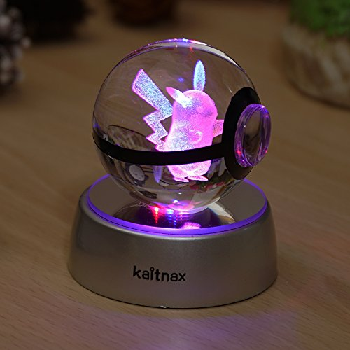 - 3d Crystal Ball Lamp Laser Engraving Image in the Ball LED Color Change Base (Pikachu)
