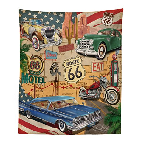 (Lunarable Route 66 Tapestry, Old Fashioned Cars Motorcycle on A Map Road Trip Journey American USA Concept, Fabric Wall Hanging Decor for Bedroom Living Room Dorm, 23 W X 28 L Inches, Multicolor)