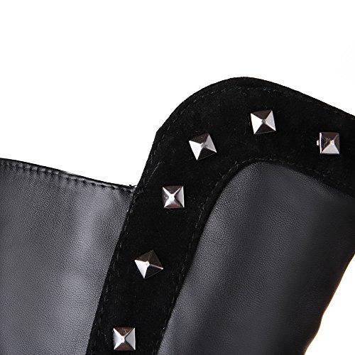 Amoonyfashion Womens Pull-on Talons Hauts Pu Solide Haut Top Bottes Noir