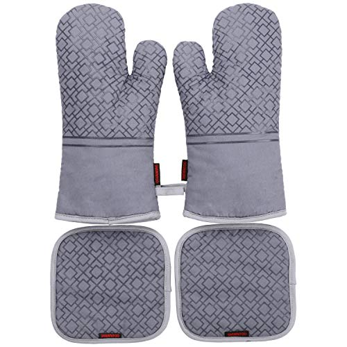 Shawntoo Pot Holders and Oven Mitts 4pcs Set, 500 Degree Heat Resistant Soft Lining with Non-Slip Surface Oven Gloves 1 Pair and 2pcs Hot Pads, Perfect for Kitchen Baking BBQ Grilling (Grey)