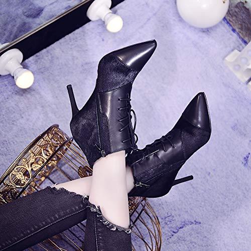 AJUNR Modische Modische Modische Arbeit Damenschuhe Mode zusammenfügen mit hohen 8cm dünne Sohle Kurze Stiefel starken Kopf Frenulum 130108