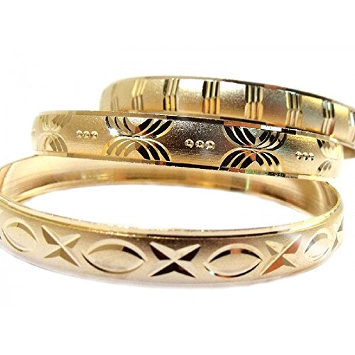 3pk Girls Gold Bangle Bracelets Baby, Infant, Girls, Child, Size Small 1.5