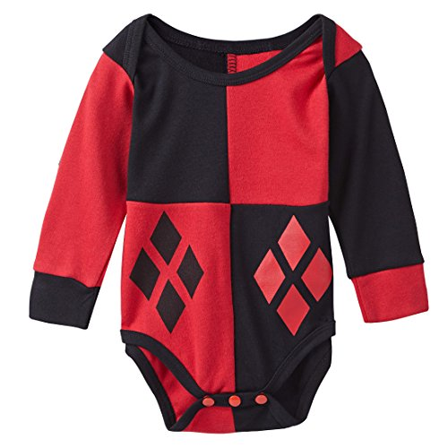 A&J Design Baby Girls' Harley Quinn Long Sleeve Bodysuit Snapsuit 6-9 Months (Harley Quinn Children)