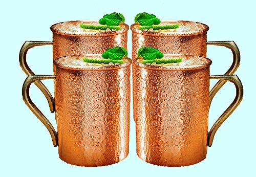Original Vodka (STREET CRAFT Copper Moscow Mule Beer Mug 100% Pure Copper Original Vodka And Ginger Beer Drink Mugs Cups 16 Oz Set of 4)