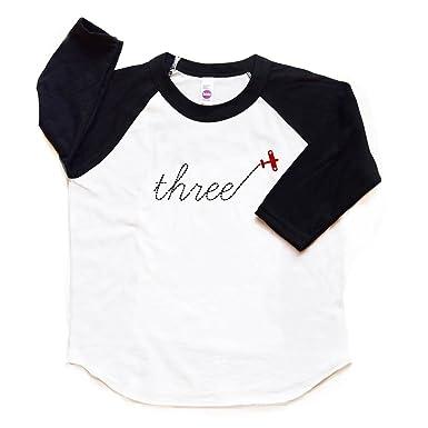 3 Birthday Shirt Airplane Raglan Toddler Boy Girl Three Plane Tshirt 3rd Trendy Third Tee
