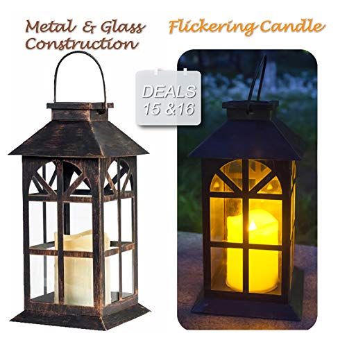 Solar Lantern Outdoor Classic Decor Bronze Antique Metal and Glass Construction Mission Solar Garden Lantern Indoor and Outdoor Solar Hanging Lantern Entirely Solar Powered Lantern of Low -