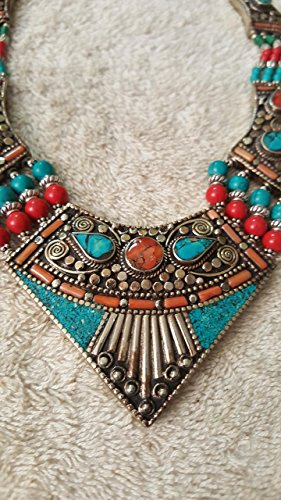 CORAL, BLUE LAPIS-LAZULI & TURQUOISE TIBETAN NECKLACE FOR WOMEN 925 STERLING SILVER FASHION NECKLACE BY TIBETAN SILVER
