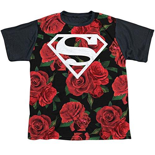 (Superman DC Character Roses Shield Symbol Boys Youth Black Back T-Shirt Tee)