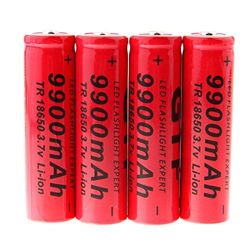 Hossen GTF 4pcs 3.7V 18650 9900mAh Li-ion Rechargeable Battery For LED Flashlight Torch