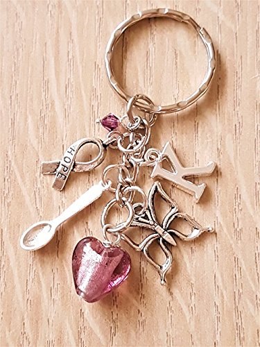 Crystal Depression Glass (Personalised Purple Awareness Glass Heart Keyring with Silver Butterfly Hope Spoon Bag Charm)