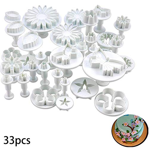 NiceWave 10 SETS (30 PCS) PLUNGER CUTTERS SUGARCRAFT CAKE DECORATING NEW (Heart, Veined butterfly, star, Daisy, veined rose leaf,Carnation, Blossom, flower, Sunflower, other) Creative Design