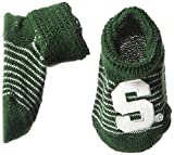 Two Feet Ahead NCAA Michigan State Spartans Infant Stripe Gift Box Booties, New Born, Green/White