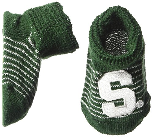 (Two Feet Ahead NCAA Michigan State Spartans Infant Stripe Gift Box Booties, New Born, Green/White)