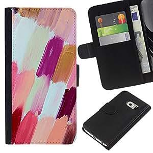 [Neutron-Star] Modelo colorido cuero de la carpeta del tirón del caso cubierta piel Holster Funda protecció Para Samsung Galaxy S6 EDGE (NOT S6) [Blanco púrpura melocotón esmalte de uñas]
