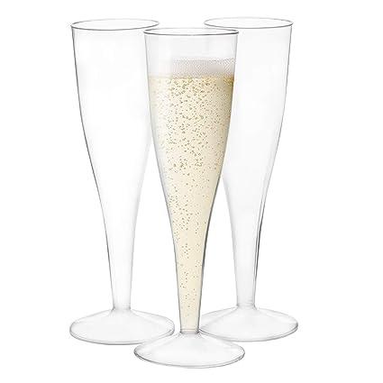 Amazoncom 24 Plastic Champagne Flutes Bulk 45 Oz Disposable