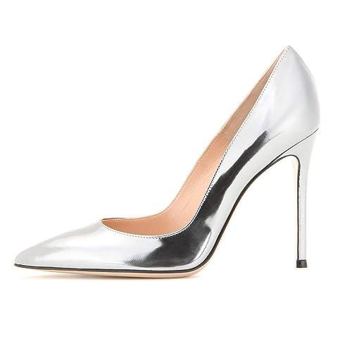 41c83561a EDEFS Escarpins Vernis Femme - Chaussures à Talons Hauts Aiguille - Bout  Pointu PU Cuir - Fete Soiree Grande Taille