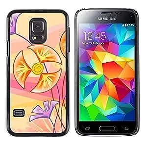 Flores Cartooned - Metal de aluminio y de plástico duro Caja del teléfono - Negro - Samsung Galaxy S5 Mini (Not S5), SM-G800