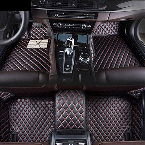 (Custom Car Floor Mats for Lexus GS GS200T GS250 GS300 GS350 GS450H 2008-2017 Luxury Leather Waterproof Anti-Skid Full Coverage Front Mat and Rear mat/Set (Black red))