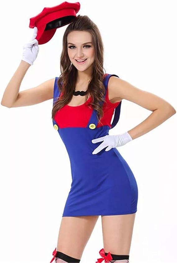 thematys® Super Mario Luigi Gorra + Vestido + Barba + Guantes ...