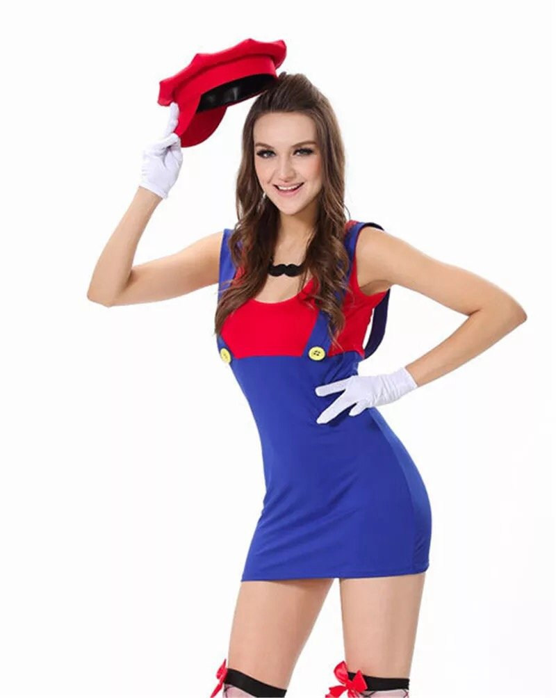 Sexy Mario Dress for Women with matching hat, white gloves