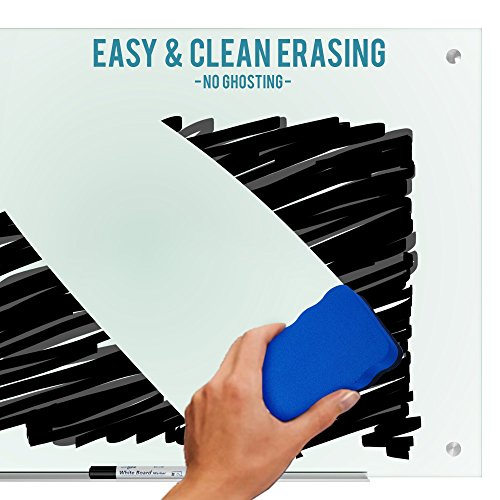 """Magnetic Glass Dry Erase Board Whiteboard 35 x 47"""" Large Clear Frameless Infinity Frosted Surface Aluminum Tray Bonus Eraser 4 Markers 6 Magnets Home School Office Classroom Supplies (35 x 47 inch) by Dapper Display (Image #2)"""