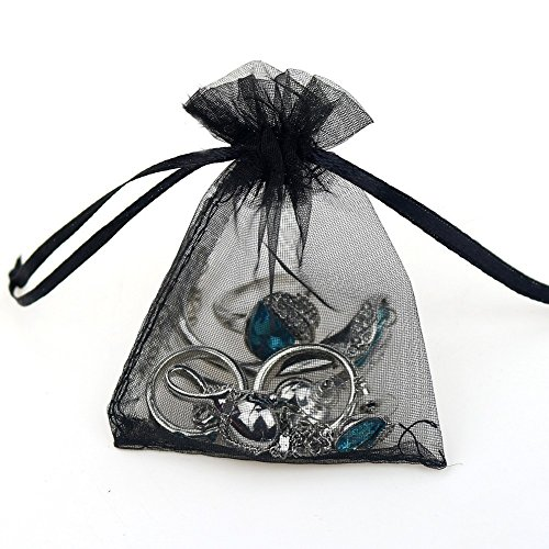 """Grandroomchic[TM] 100 Pcs 5""""x7"""" Black Jewelry Organza Drawstring Pouches Jewelry Party Candy Bags Jewelry Pouch Favor Gift Bags"""