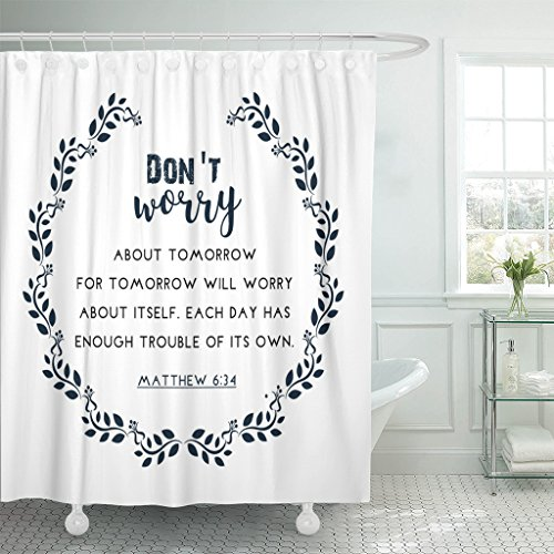 TOMPOP Shower Curtain Psalm Bible Quote in Wreath Text Verse Scripture Waterproof Polyester Fabric 60 x 72 Inches Set with Hooks by TOMPOP