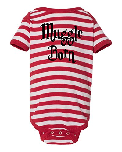 Price comparison product image MUGGLE BORN Funny Harry Potter Wizard Onesie Red With White Stripes by BeeGeeTees (12 Months)