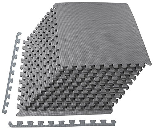 BalanceFrom Puzzle Exercise Mat with EVA Foam Interlocking Tiles, Grey (Best Floor Covering For Dogs)