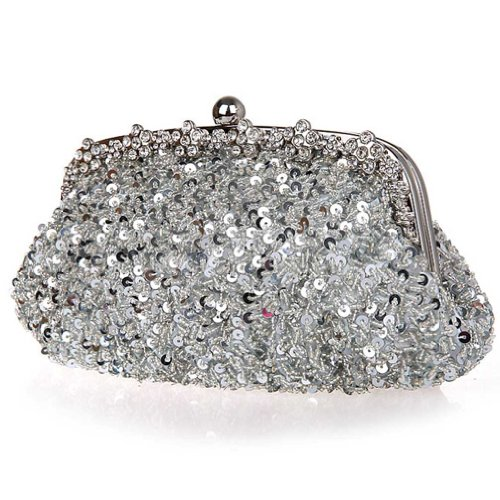 Bags Sequin Shoulder negro Clutch Party Bag Plata Kaxidy Wedding Handbag Purse Evening qwzWTpO
