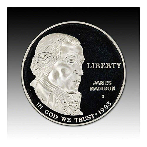Madison Mint Dollar - 1993 S US James Madison Bill of Rights Proof Silver Dollar $1 DCAM US Mint