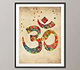 hindus alternative - Vintage Ohm Symbol Watercolor Poster Ohm Yoga Watercolor Art Print Yoga Home Decor Spiritual Art Zen Decor Zen Painting Hindu Art