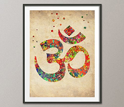 Vintage Ohm Symbol Watercolor Poster Ohm Yoga Watercolor Art Print Yoga Home Decor Spiritual Art Zen Decor Zen Painting Hindu Art