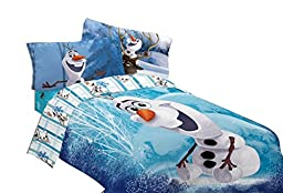 Disney Frozen Olaf Build a Snowman 72 by 86-Inch Microfiber Comforter, Twin/Full