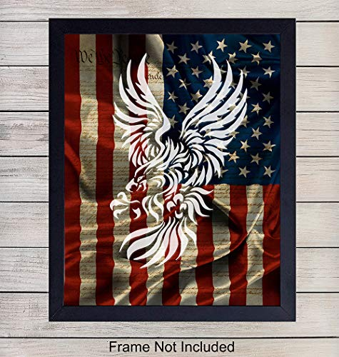 (American Flag and Eagle on Constitution Wall Art Print - Patriotic Home Decor - Great Gift for Military Veterans and 4th of July - 8x10 Unframed Photo)