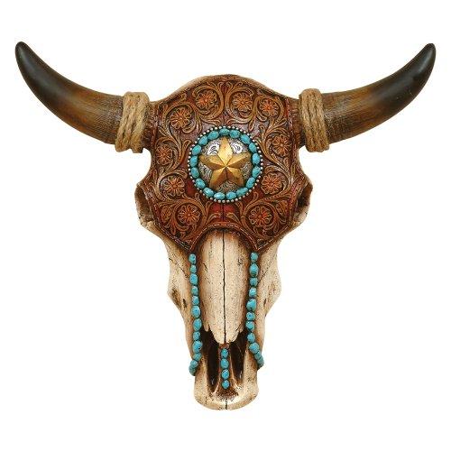 Black Forest Decor Bull Skull with Tooled Leather Design - Southwestern (Southwestern Bull)