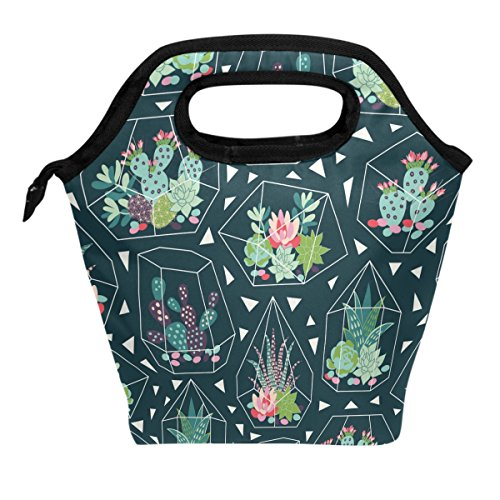Handbag Vase - ALAZA Tropical Succulents Cactus Flower Geometric Vase Lunch Box Tote Handbag Lunch Bag Insulated Cooler Lunchbox for Men Women School Teens Office Picnic