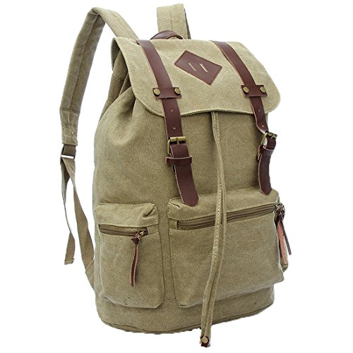 Cgecko C-1082 Leisure Retro Cotton Canvas Bagpack Backpack College School Bag For Boys (Sierra Backpack Leather)