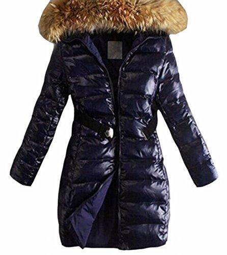UK Parkas Fur Hoodies Outdoor Long Mid Womens today Puffer Coat Collar Warm Blue Fd46H6wq