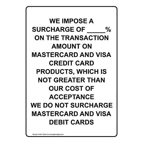 We Impose A Surcharge of_% On Label Decal, 5x3.5 in. 4-Pack Vinyl for Dining/Hospitality/Retail by ComplianceSigns