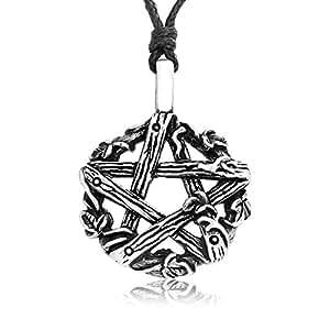 Llords - Estrella pentagrama de madera de hiedra peltre colgante collar