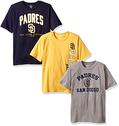 OuterStuff MLB San Diego Padres Boys 8-20 Tee Set (3 Piece), Large (14-16), Assorted (San Diego Padres 3 Piece)