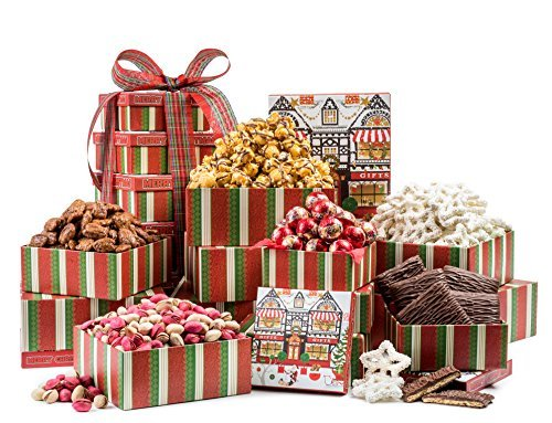 Happy Holidays From Santa, Christmas Gourmet Gift 6 Tier Snack Tower Christmas Gift Baskets