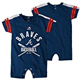 Atlanta Braves Newborn Navy Blue Classic Stripe Romper