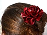 "Yak Lialia Genuine Leather Flower 2.5"" Patent Deep Red Rose Wooden Hair Stick 4"""