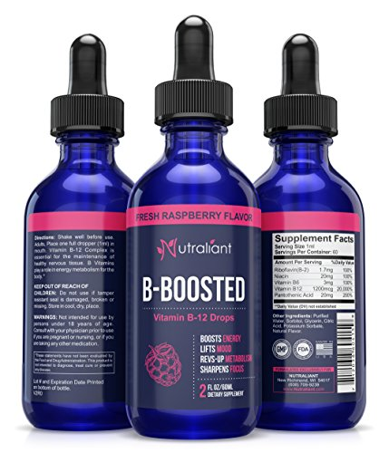 B12 Liquid Vitamin Drops For Max Absorption - Best Fast Acting Sublingual Supplement Boosts Energy, Mood & Metabolism. Increases Focus & Clarity - Combats Stress & Fatigue - #1 Nervous System Support
