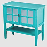 Heather Ann Creations Modern 2 Door Accent Console Cabinet With 4 Pane Mirror Insert and Bottom Shelf Turquoise