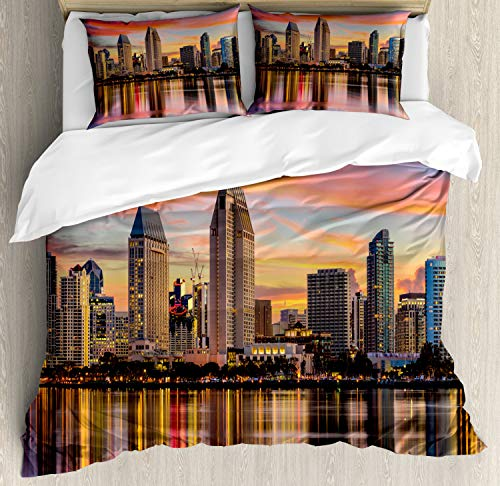 Ambesonne San Diego Duvet Cover Set Queen Size, California USA Downtown Skyline at Sunset Twilight Modern Apartment Buildings, Decorative 3 Piece Bedding Set with 2 Pillow Shams, Multicolor